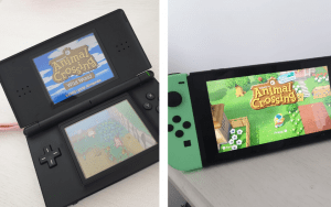 Nintendo Switch and Nintendo Ds Side by Side