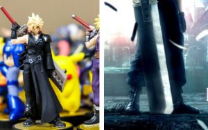 Final Fantasy artwork and figurines