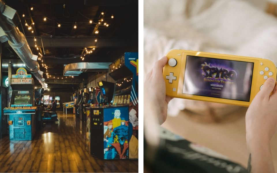 Arcade Games Beside Nintendo Switch Playing Spyro