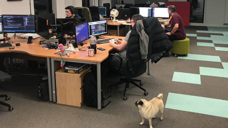 Neil and the other members of the team working in the office