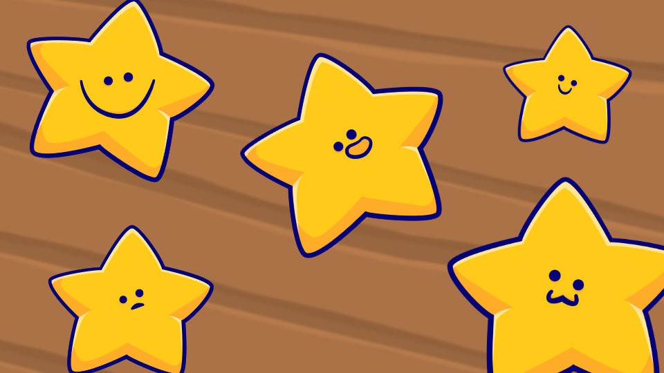 Starfish character drawings from the game Fish Tanks