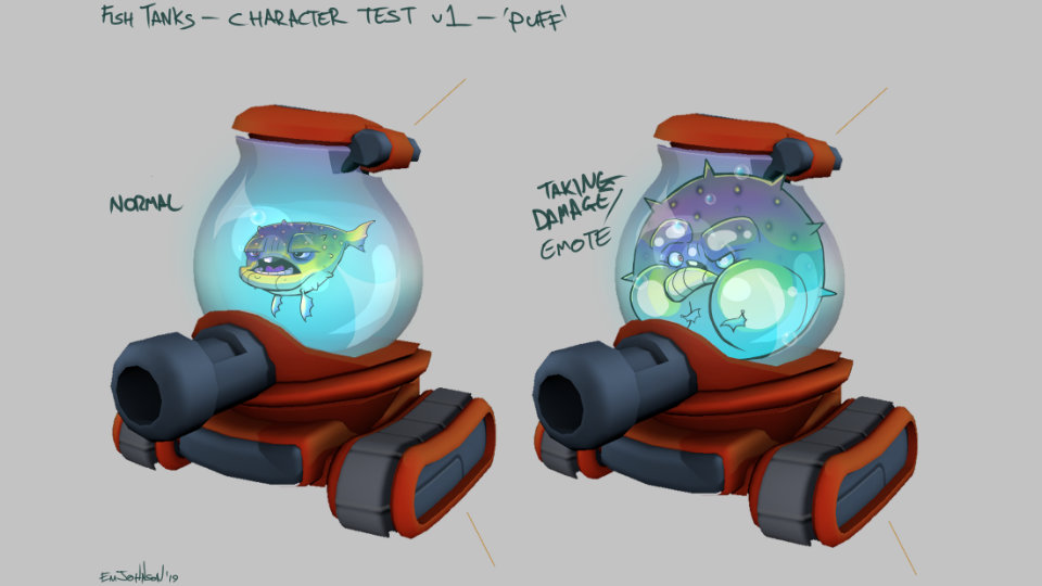 Draft of concept art from Fish Tanks game