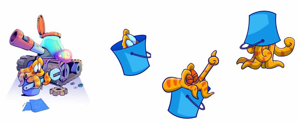 Bucket character art for Fish Tanks game