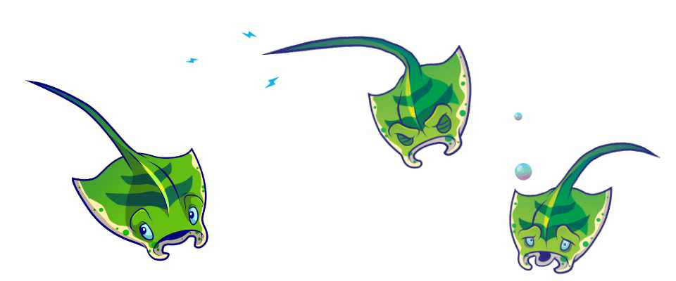 Ray character art from Fish Tanks game